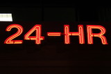 shiny 24-hr sign neon lights poster