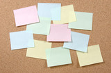 colorful post-it notes on corkboard poster
