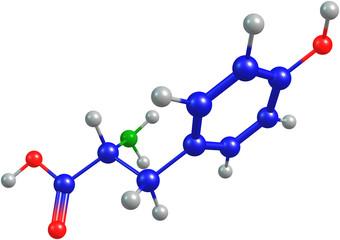 the 3d-rendered colorified molecule of tyrosine