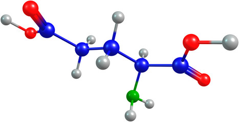 the 3d-rendered colorified molecule of glutamate