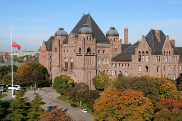 ontario parliament building with fall colors