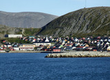 quaint fishing harbor town in norway poster