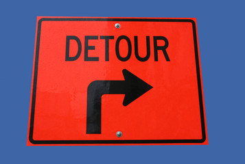 detour to right sign