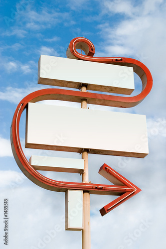 large blank sign with curving arrow