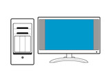computer with monitor line drawing poster