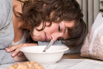 falling asleep over breakfast