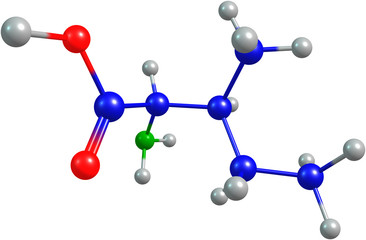 the 3d-rendered colorified molecule of isoleucine
