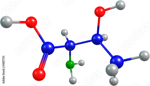 the 3d-rendered colorified molecule of threonine