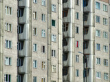 grim apartment block in russia poster
