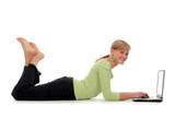 girl lying on floor using laptop poster