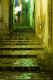 stairs in arabian medina by night poster