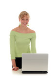 young woman using laptop poster