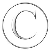 sign of the copyright,  silver bevel symbol poster