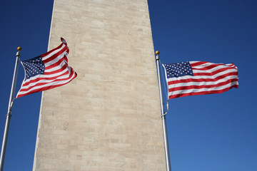 american flags and washington monument