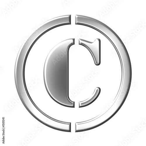 sign of the copyright,  silver bevel symbol