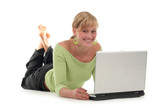 young woman lying on floor using laptop poster