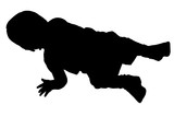 silhouette with clipping path baby crawling poster