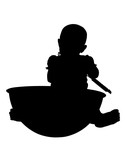 silhouette with clipping path baby with giant bowl poster