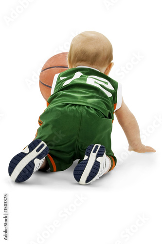 baby with basketball