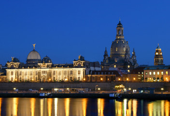 dresden with frauenkirche at night