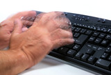 man typing rapidly poster