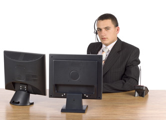 businessman at he computer's screens