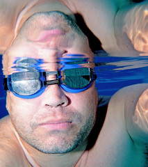 male swimmer as seen underwater
