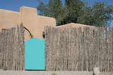 turquoise gate with fence poster