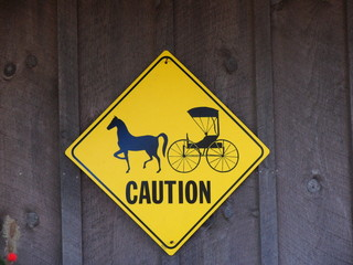 caution sign for horse and carriage