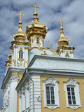 beautiful church with golden domes poster