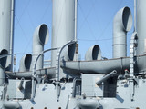 naval battleship chimneys and cannon poster