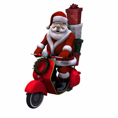 santa scooter - isolated
