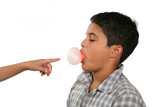 boy blowing bubble poster