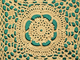 hand crocheted lace with green background poster