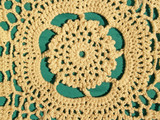 hand crocheted lace detail, with green background poster