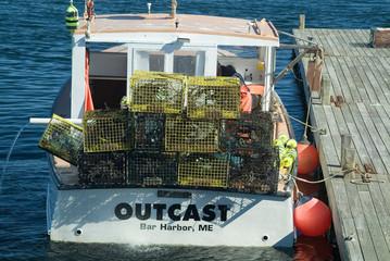 lobster boat unloading it's catch