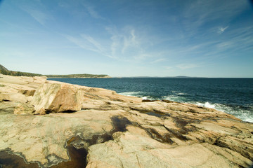 pink granite cliffs in acadia national park maine