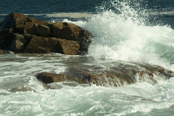 crashing surf on rocks in acadia national park