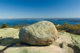 huge glacial boulder on cadillac mountain poster