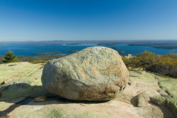huge glacial boulder on cadillac mountain