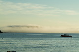 morning fog and lobster boat poster