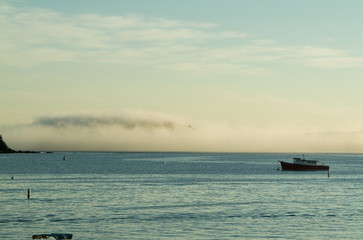morning fog and lobster boat