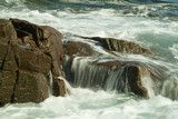 waves on large rocks in atlantic coast poster