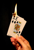 hot card hand (focus at bottom of flame) poster