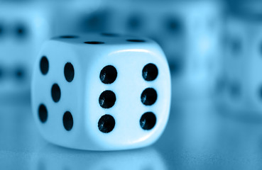 dice - number six in blue