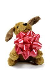 toy dog with bow