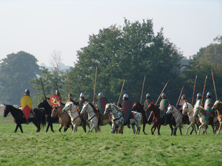 norman horsemen with spears at hastings