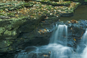 small water cascade with rock ledge and fall leave