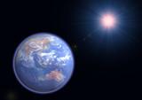 earth facing australia with halo and purple star