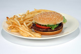french fries and hamburger on a plate poster